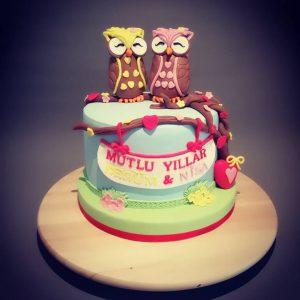 Baykuş figürlü doğum günü pastası