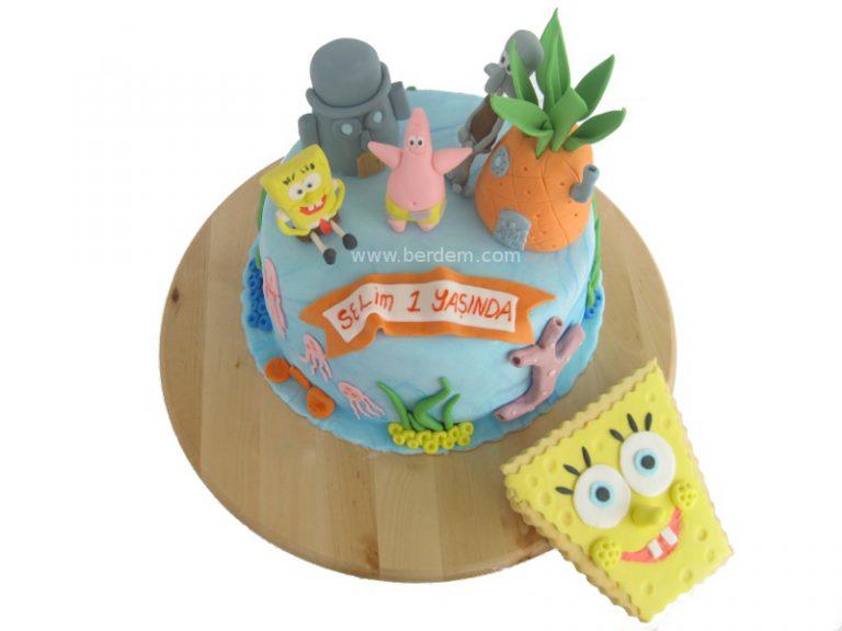 Sünger Bob ve Arkadaşları temalı 1 yaş doğum günü pastası.